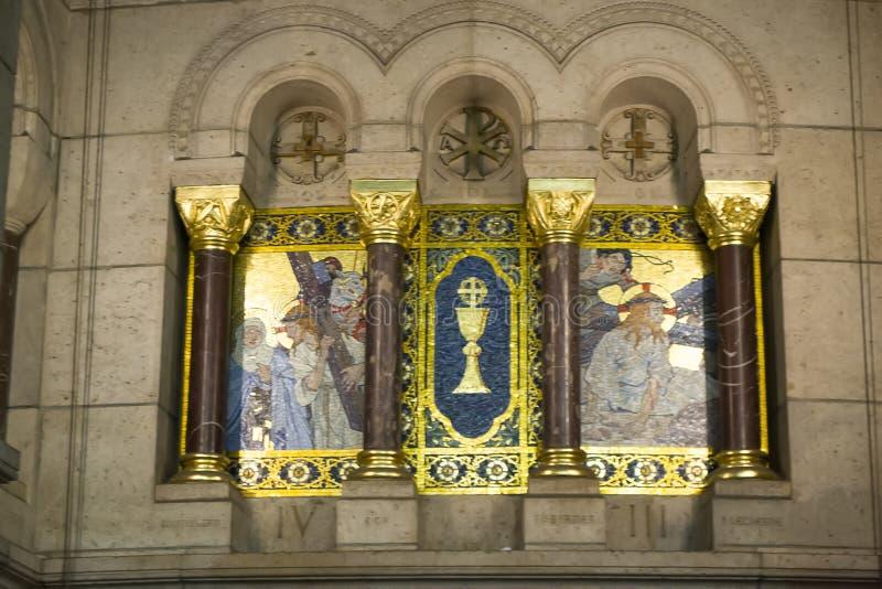 Interior da Basilica Sacre Coeur fotos de stock royalty free
