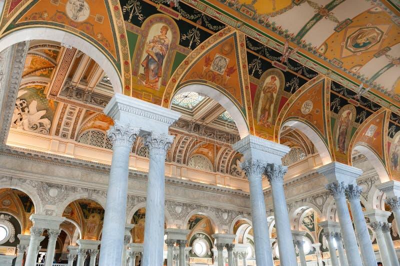 Interior da Biblioteca do Congresso no Washington DC, sala de leitura fotos de stock royalty free