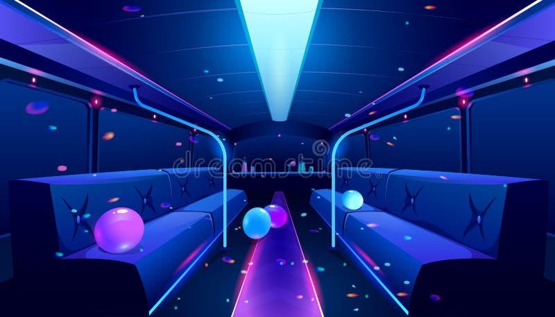Interior da boate vetorial no ônibus de festa ilustração royalty free