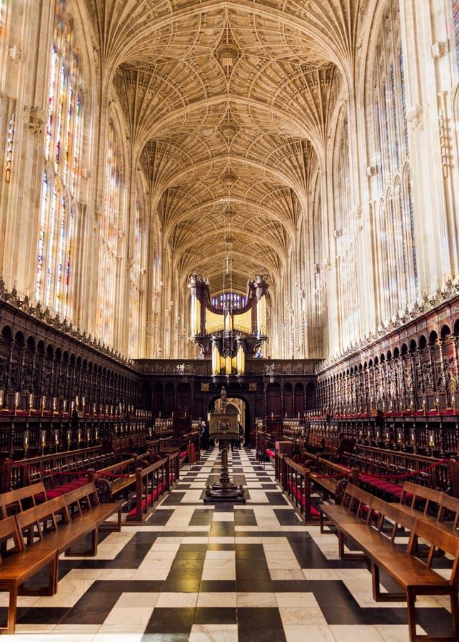 Interior da capela do Kings College, Cambridge fotografia de stock royalty free
