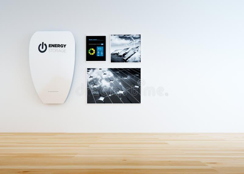 Interior da casa com a bateria de alta capacidade da parede ilustração stock