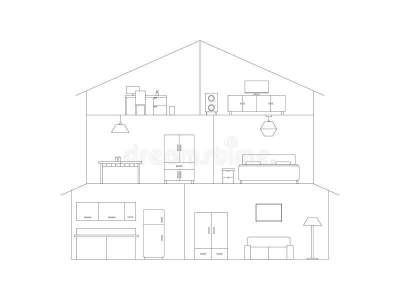 Interior da casa do entalhe ilustração royalty free