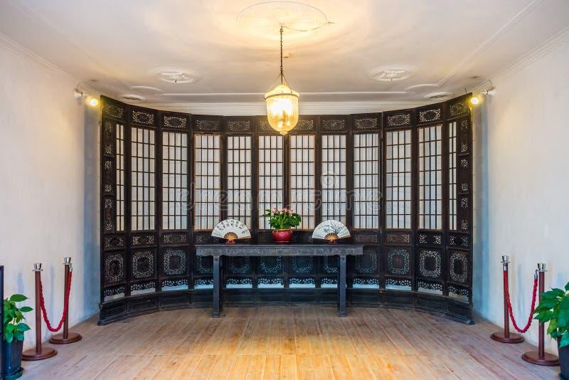 Interior da casa do ` s do mandarino construída com estilo arquitetónico do cantonês ou do Guangdong fotografia de stock