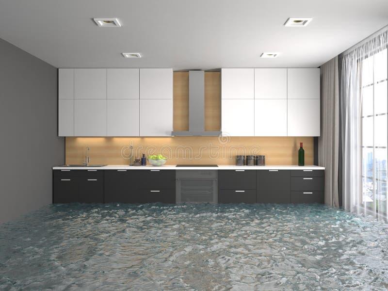 Interior da casa inundada com água ilustração 3D ilustração stock