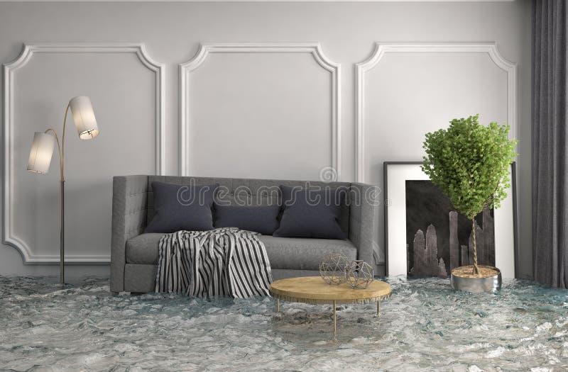 Interior da casa inundada com água ilustração 3D ilustração do vetor