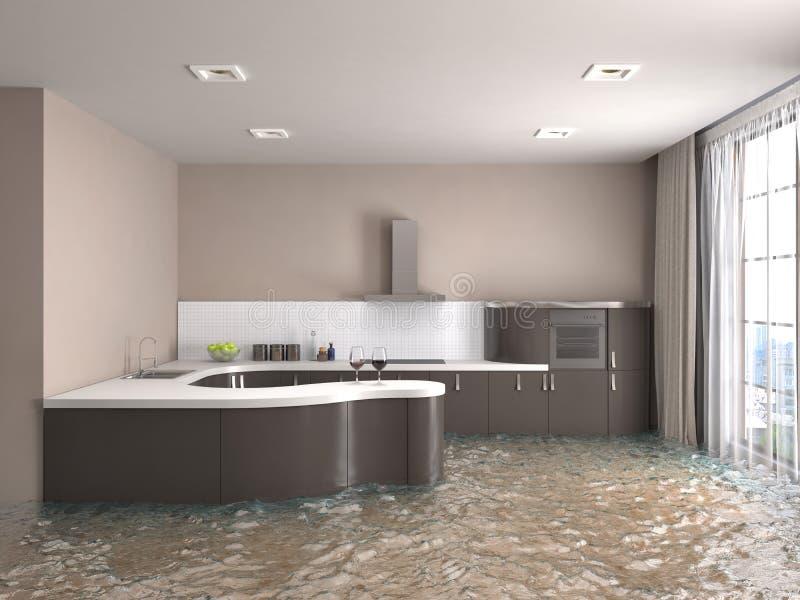 Interior da casa inundada com água ilustração 3D ilustração royalty free