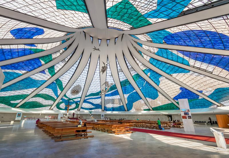 Interior da catedral de Brasília - Brasília, Brasil fotografia de stock royalty free