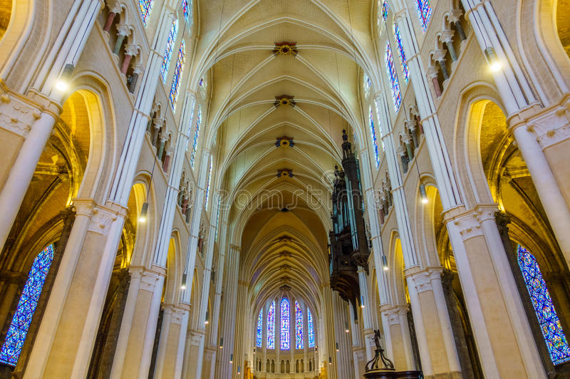 Interior da catedral de Chartres, França fotos de stock