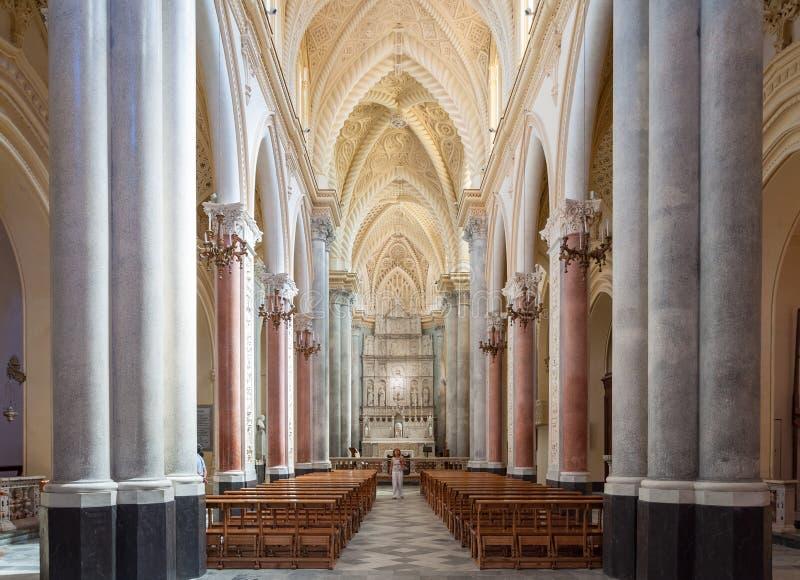 Interior da catedral de Erice, província de Trapani Sicília, Italy fotos de stock
