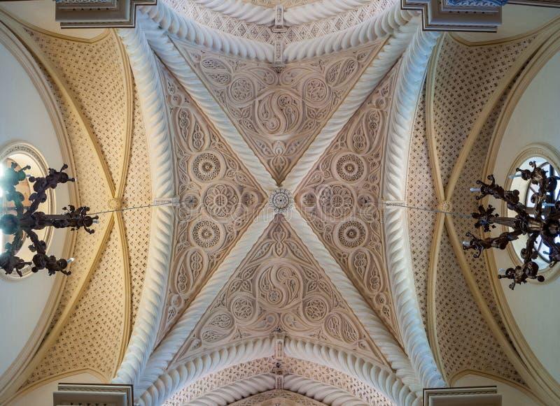 Interior da catedral de Erice, província de Trapani Sicília, Italy imagem de stock