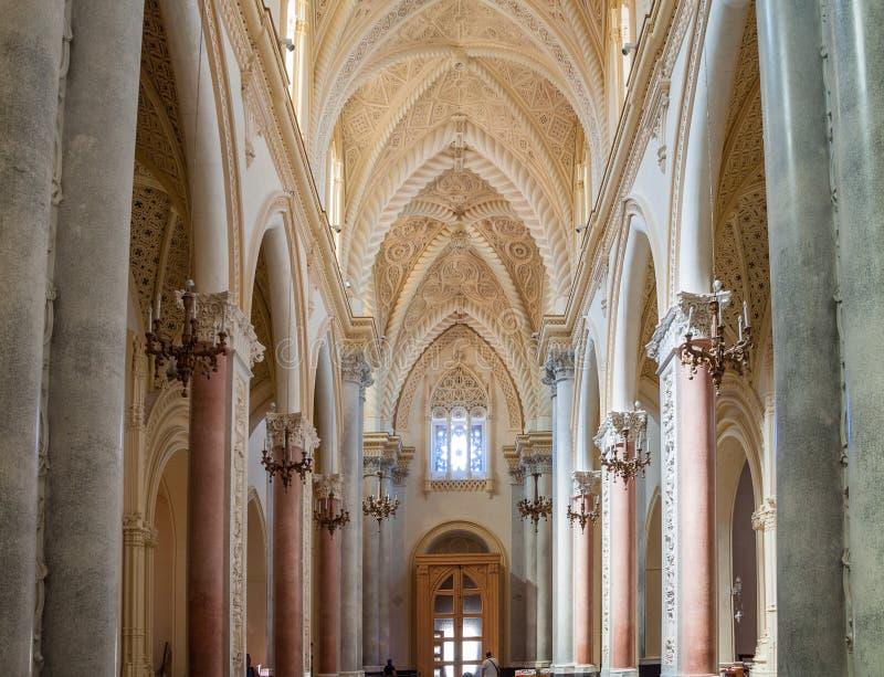 Interior da catedral de Erice, província de Trapani Sicília, Italy imagem de stock royalty free