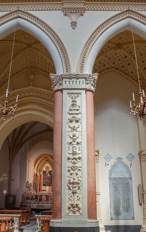 Interior da catedral de Erice, província de Trapani Sicília, Italy foto de stock