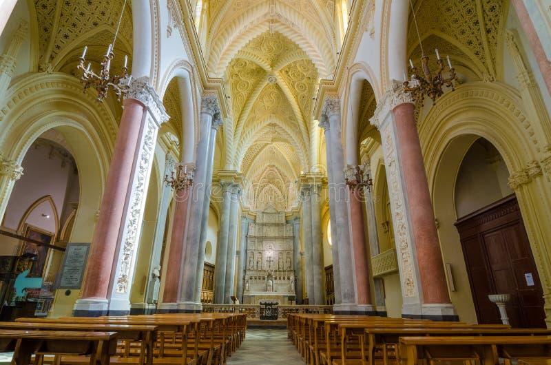 Interior da catedral de Erice, Santa Maria Assunta Sicília, Italy imagem de stock royalty free