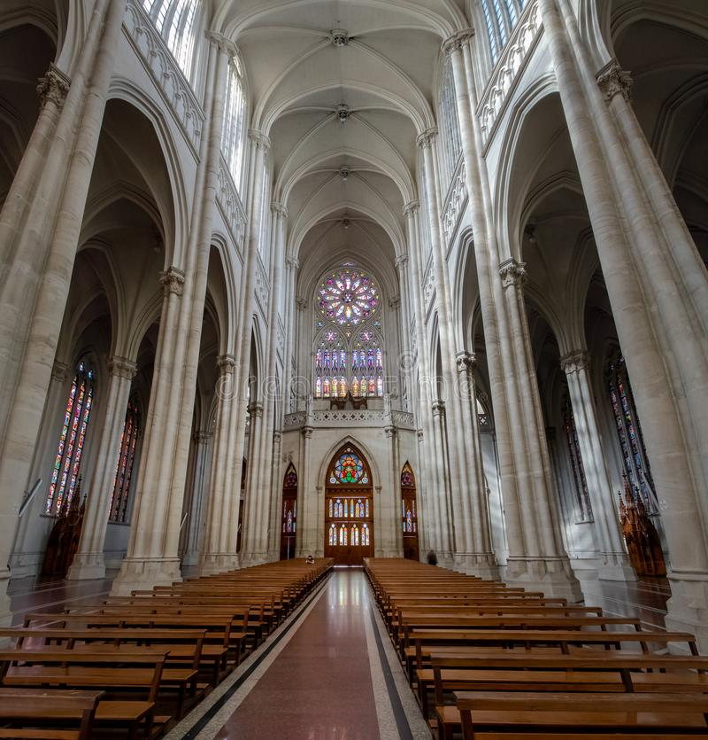 Interior da catedral de Plata do La - La Plata, província de Buenos Aires, Argentina fotografia de stock