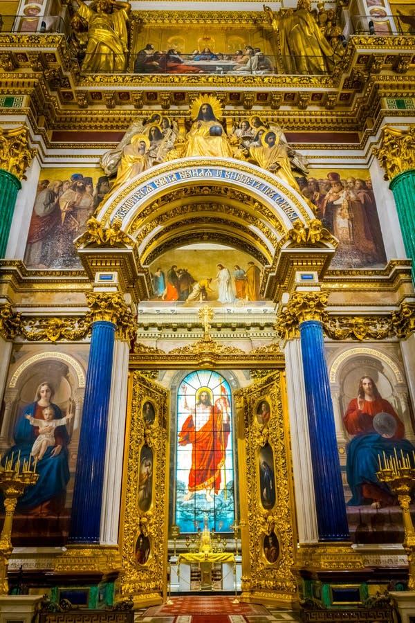 Interior da catedral do St Isaac em St Petersburg, R?ssia fotos de stock royalty free
