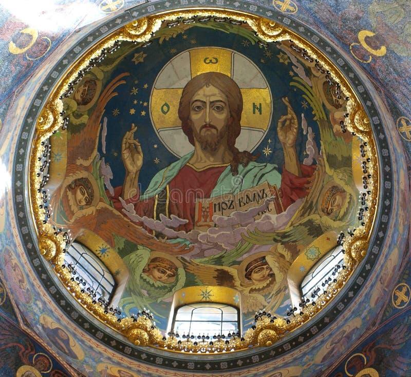 Interior da catedral Termas-na-krovi foto de stock royalty free