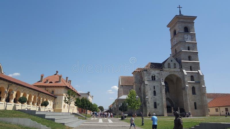 Interior da citadela, complexo de Alba Iulia Fortress, a Transilvânia, Romênia imagens de stock