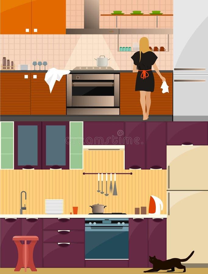 Interior da cozinha com mobília no estilo liso Projete elementos e ícones, utensílios, ferramentas Mulher no vetor da cozinha ilustração do vetor