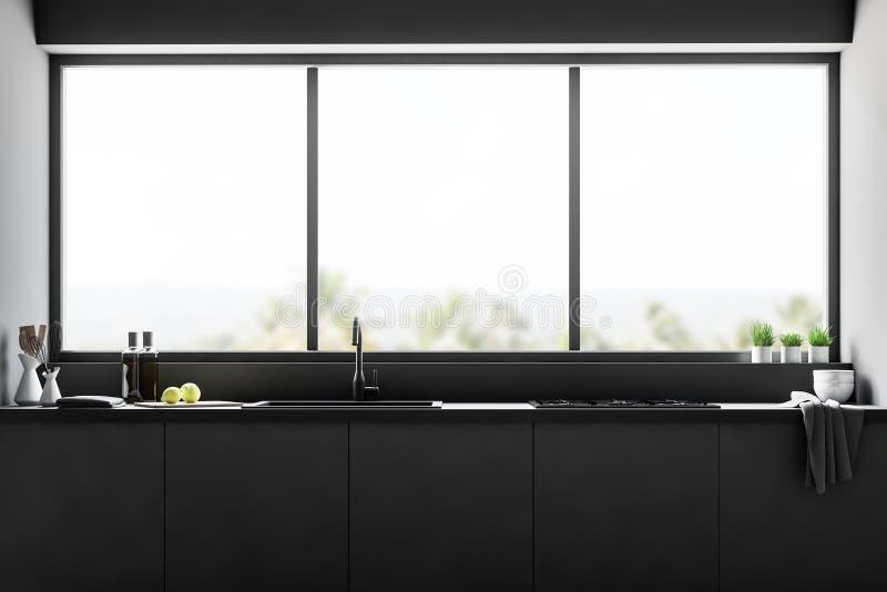 Interior da cozinha do preto de Minimalistic, janela ilustração royalty free