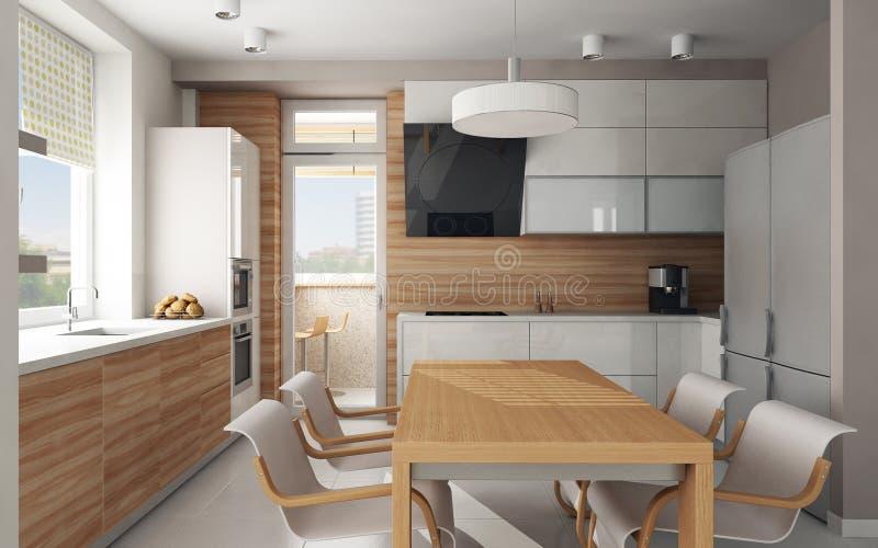 Interior da cozinha moderna ilustração stock