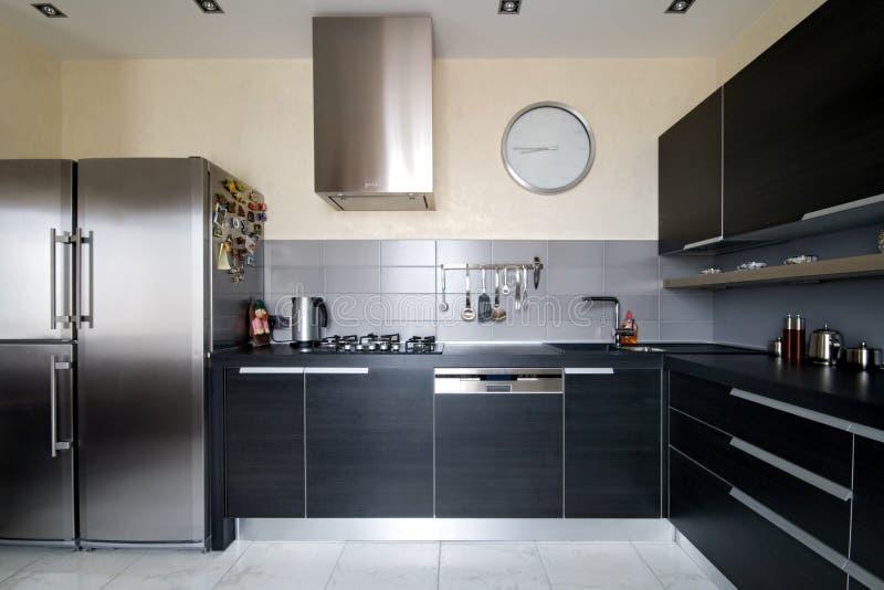 Interior da cozinha moderna imagens de stock