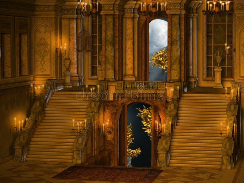 Interior da escada do palácio ilustração do vetor