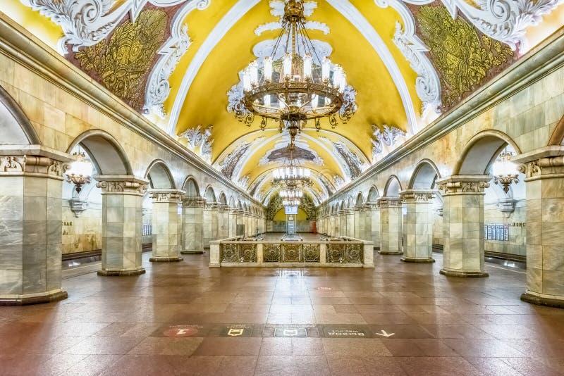 Interior da estação de metro de Komsomolskaya em Moscou, Rússia imagem de stock