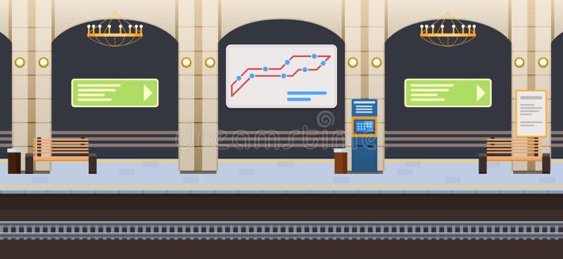 Interior da estação de metro subterrânea Sinais da informação, quadro indicador com rota ilustração stock