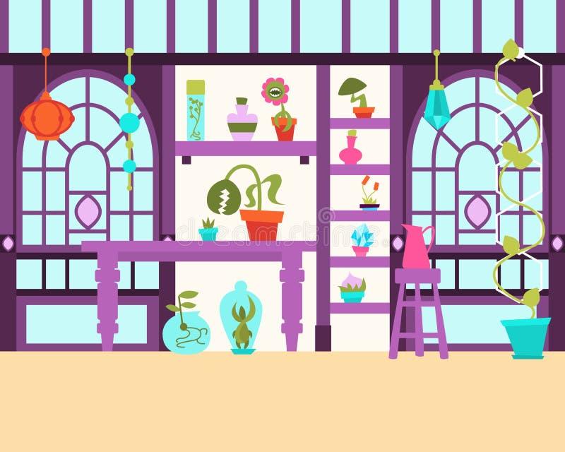 Interior da estufa mágica ilustração royalty free