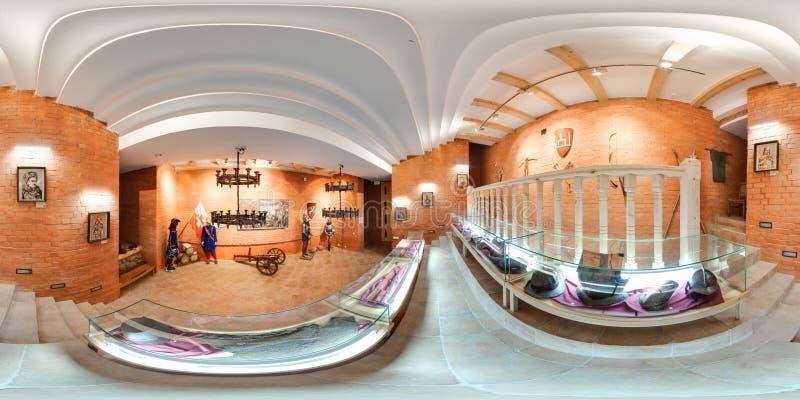 Interior da exposição medieval no museu panorama 3D esférico com ângulo de visão de 360 graus Apronte para a realidade virtual em imagens de stock royalty free