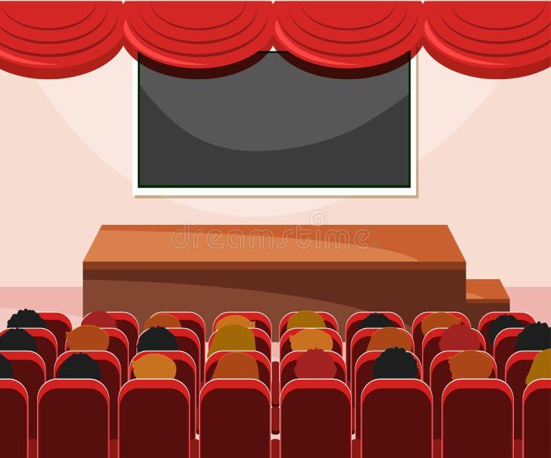 Interior da fase com audiência ilustração royalty free