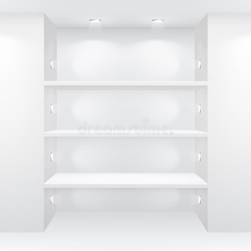 Interior da galeria com prateleiras vazias ilustração stock