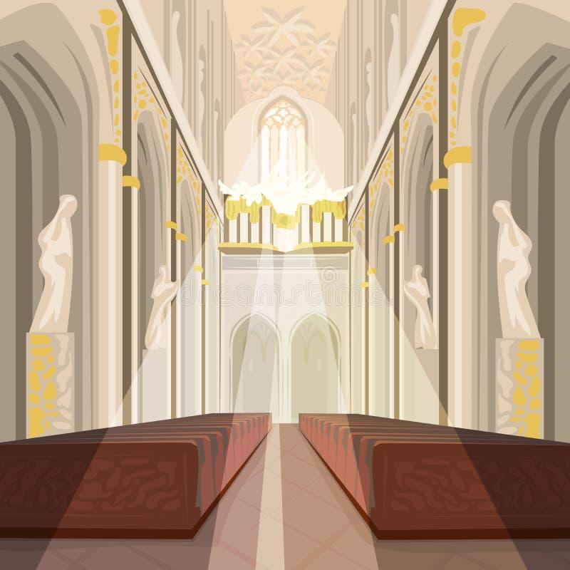 Interior da igreja da catedral ou da basílica do católico ilustração royalty free