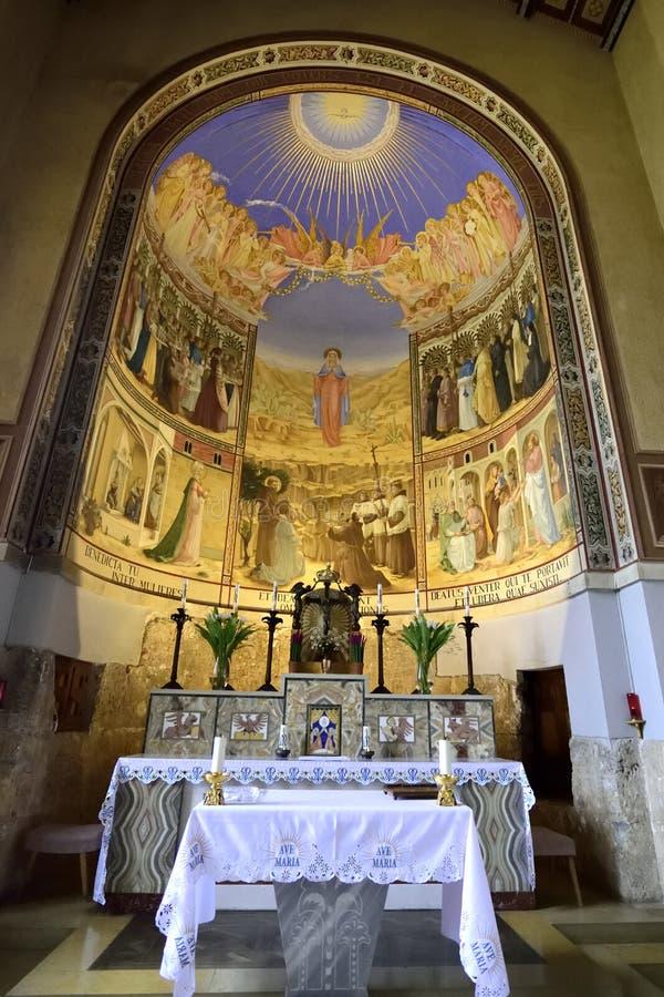 Interior da igreja da visitação, Jerusalém fotos de stock