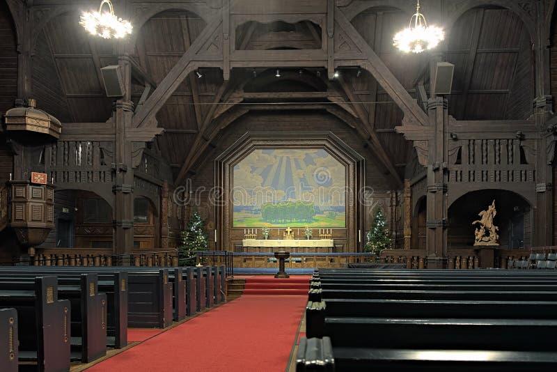 Interior da igreja de Kiruna, Sweden fotos de stock royalty free
