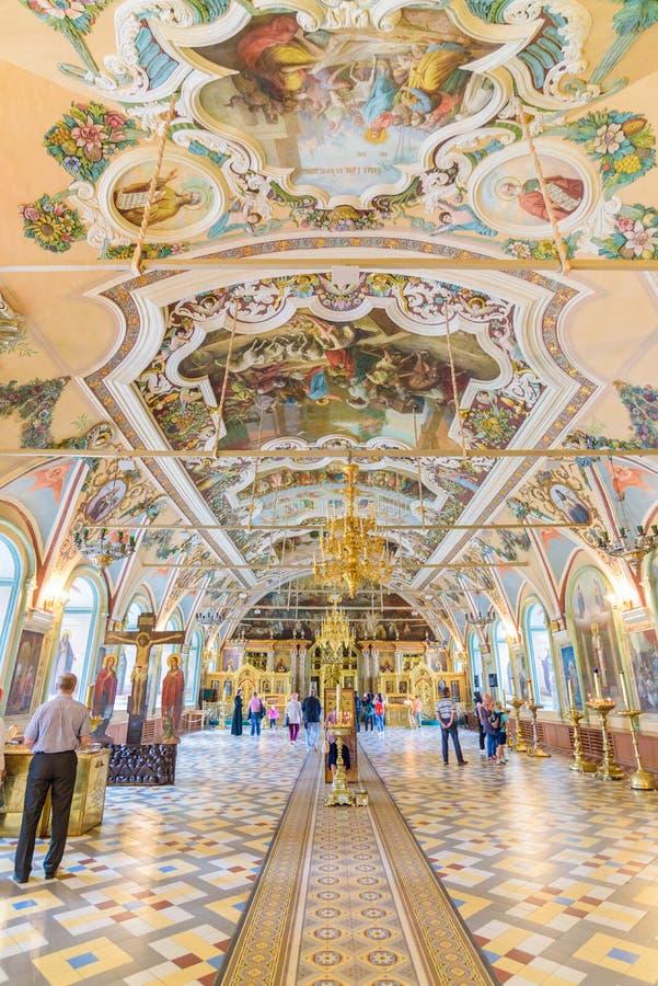 Interior da igreja de Miheevskaya de St Sergius, trindade Lavra de St Sergius em Moscou, Rússia fotografia de stock royalty free