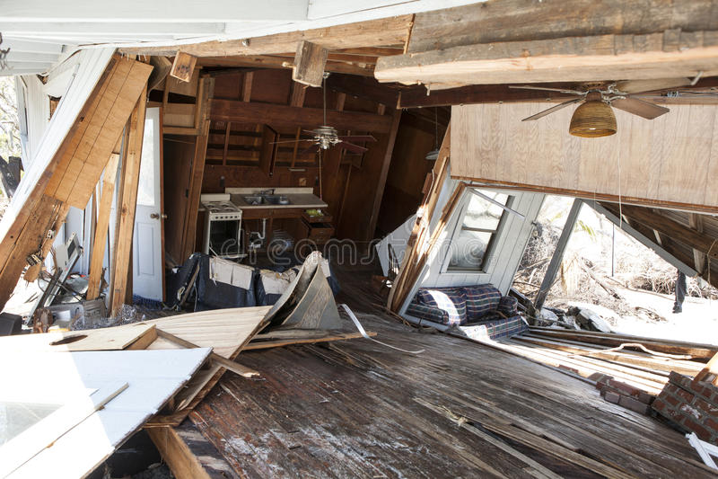 Interior da inundação danificado em casa fotos de stock royalty free