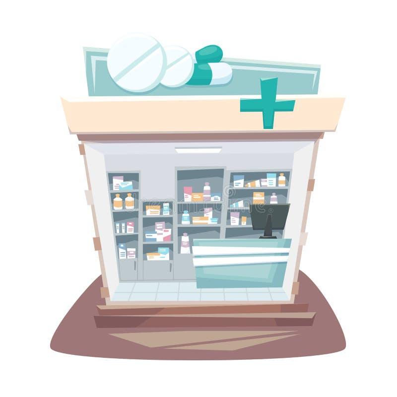 Interior da loja da farmácia ilustração royalty free
