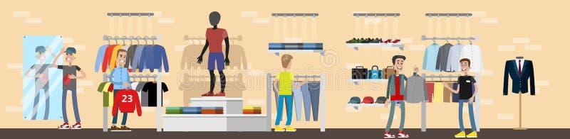 Interior da loja de roupa com clientes Roupa para homens ilustração royalty free