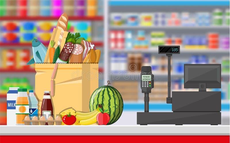 Interior da loja do supermercado com bens ilustração do vetor
