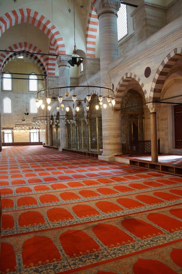 Interior da mesquita de Suleymanie imagens de stock