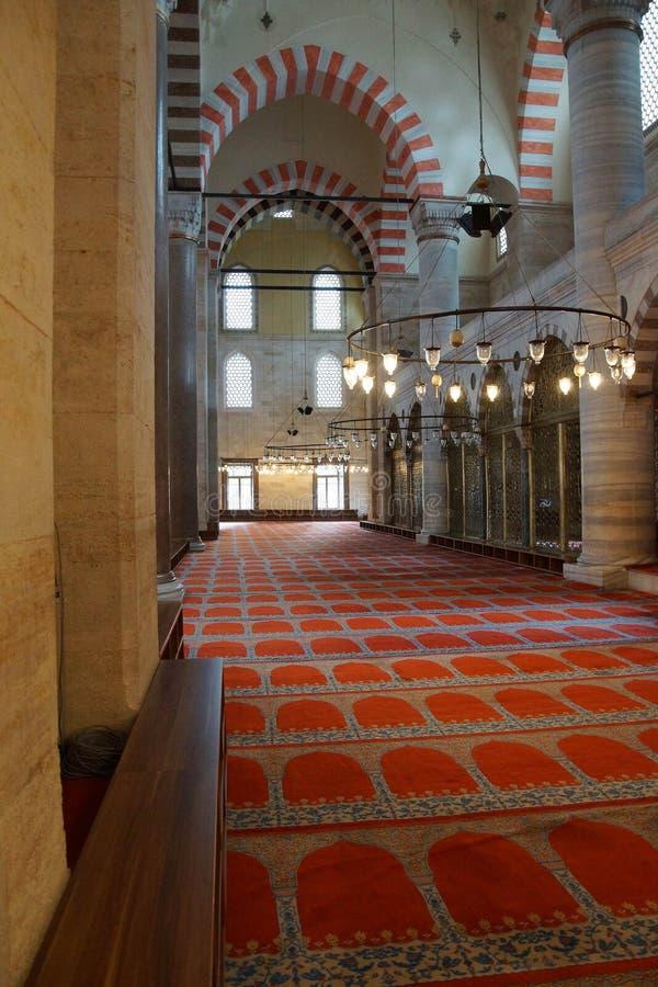 Interior da mesquita de Suleymanie fotos de stock