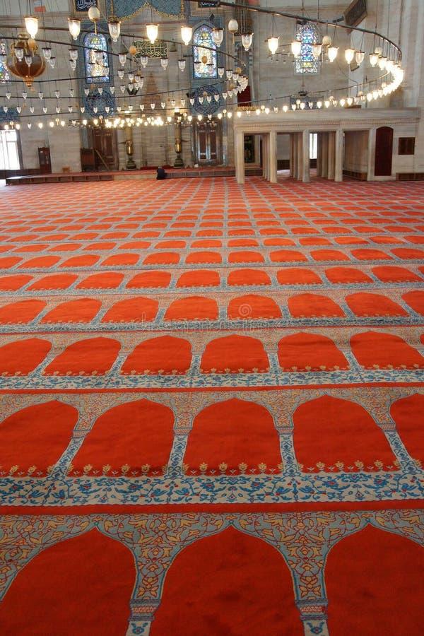 Interior da mesquita de Suleymanie fotografia de stock