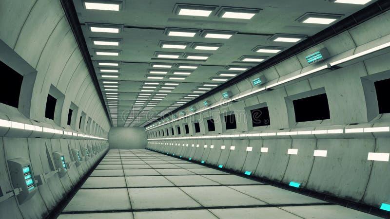 Interior da nave espacial, vista center com assoalho ilustração stock