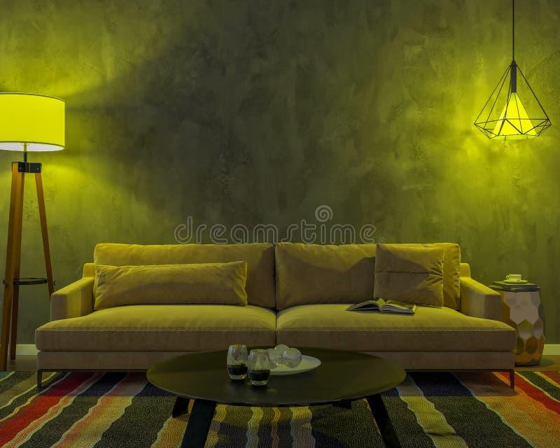Interior da noite com luzes coloridas amarelas ilustração royalty free
