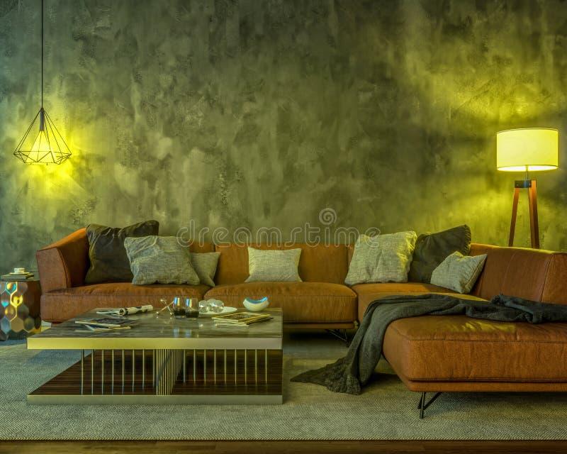 Interior da noite com luzes coloridas amarelas ilustração do vetor