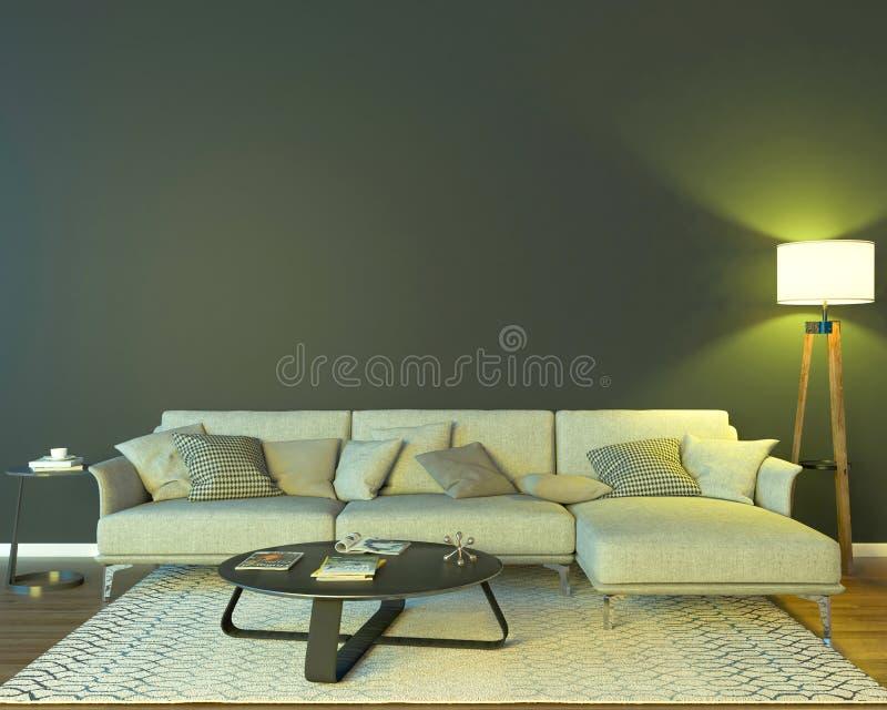 Interior da noite com luzes coloridas amarelas ilustração stock