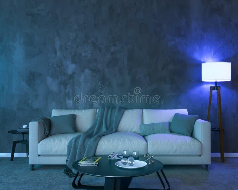 Interior da noite com luzes coloridas azuis ilustração royalty free