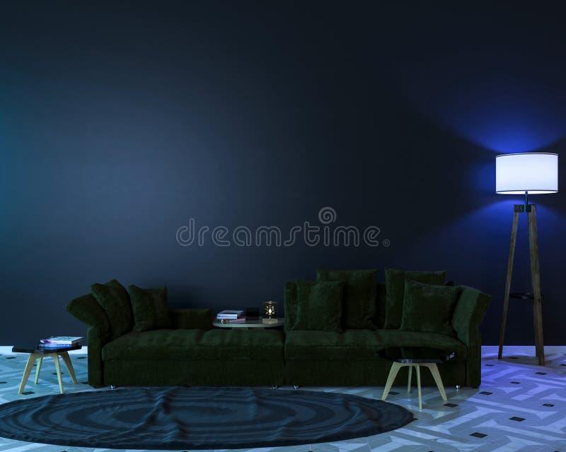 Interior da noite com luzes coloridas azuis ilustração do vetor
