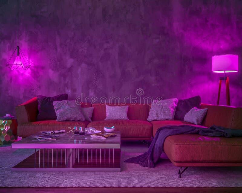 Interior da noite com luzes coloridas roxas ilustração royalty free